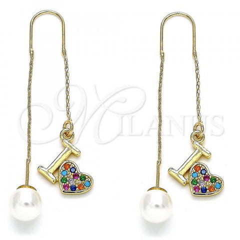 Gold Layered 02.210.0398.1 Threader Earring, Heart Design, with Multicolor Micro Pave, Polished Finish, Golden Tone