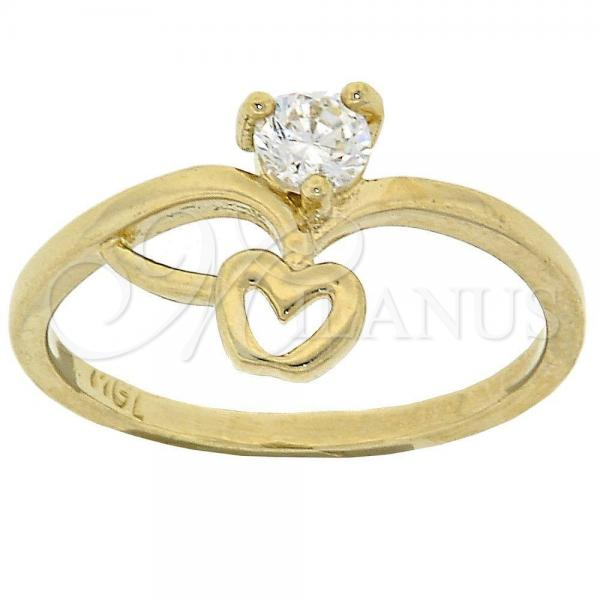 Gold Layered Multi Stone Ring, Apple Design, with Cubic Zirconia, Golden Tone