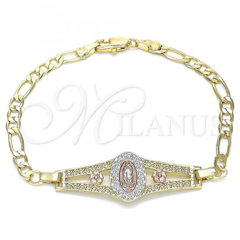 Gold Layered 03.351.0090.1.08 Fancy Bracelet, Guadalupe and Flower Design, Polished Finish, Tri Tone