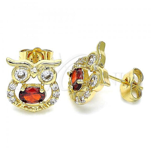 Gold Layered 02.210.0376 Stud Earring, Owl Design, with Garnet Cubic Zirconia and White Micro Pave, Polished Finish, Golden Tone