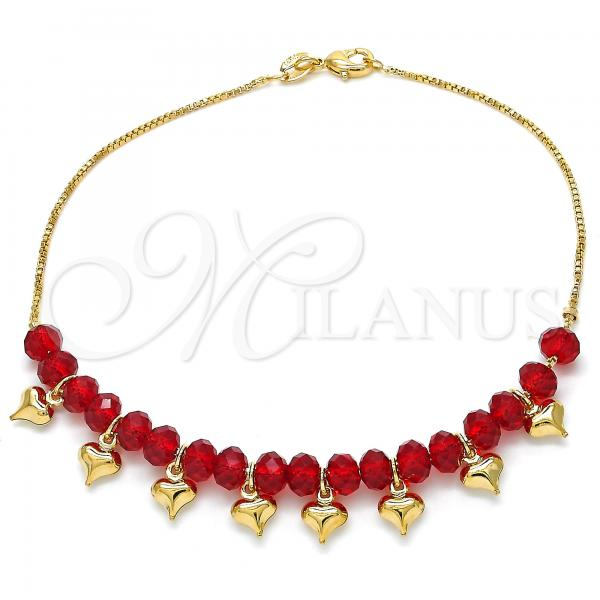 Gold Layered 03.32.0205.10 Charm Anklet , Heart and Box Design, with Ruby Crystal, Red Polished Finish, Golden Tone