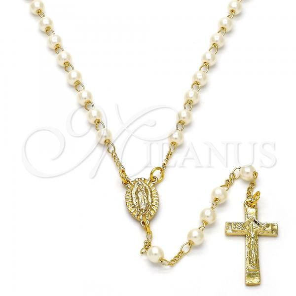Gold Layered 09.253.0003.22 Thin Rosary, Guadalupe and Crucifix Design, with Ivory Pearl, Polished Finish, Golden Tone