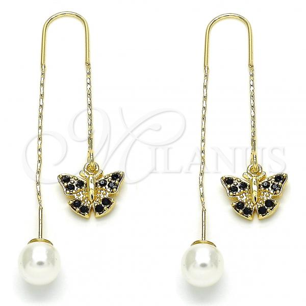 Gold Layered 02.253.0005.1 Threader Earring, Butterfly Design, with Black Crystal, Polished Finish, Golden Tone