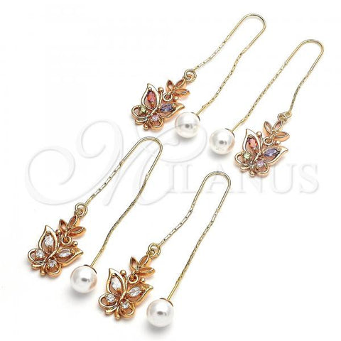 Gold Layered Threader Earring, Butterfly Design, with Cubic Zirconia, Golden Tone