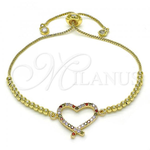 Gold Layered 03.316.0043.10 Fancy Bracelet, Heart Design, with Multicolor Cubic Zirconia, Polished Finish, Golden Tone
