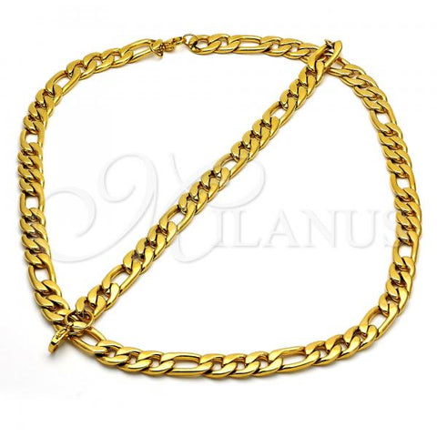 Stainless Steel 06.269.0002 Necklace and Bracelet, Figaro Design, Polished Finish, Golden Tone