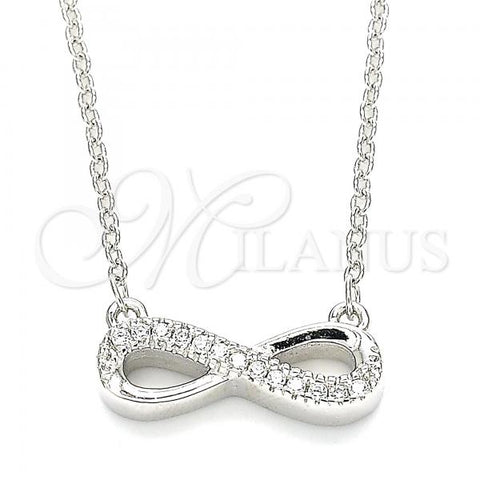 Sterling Silver 04.336.0176.16 Fancy Necklace, Infinite Design, with White Cubic Zirconia, Polished Finish, Rhodium Tone