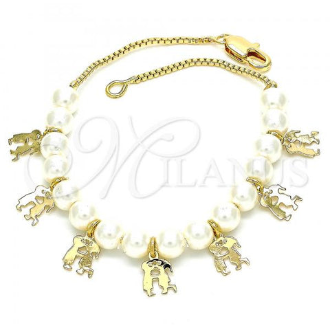 Gold Layered 03.63.2101.07 Charm Bracelet, Little Boy and Little Girl Design, Polished Finish, Golden Tone