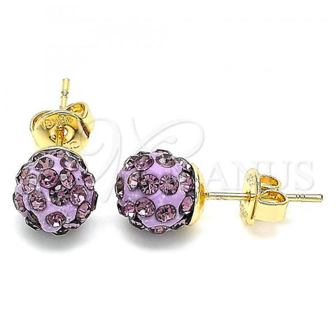 Gold Layered 02.63.2707 Stud Earring, with Amethyst Crystal, Polished Finish, Golden Tone