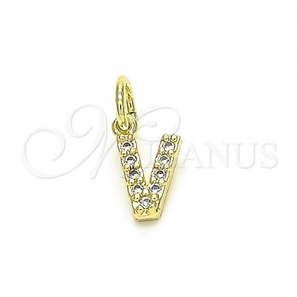 Gold Layered 05.341.0038 Fancy Pendant, Initials Design, with White Cubic Zirconia, Polished Finish, Golden Tone
