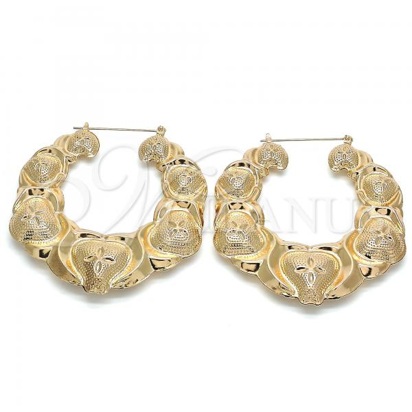 Gold Layered 02.359.0001.70 Extra Large Hoop, Hugs and Kisses and Bamboo Design, Polished Finish, Golden Tone