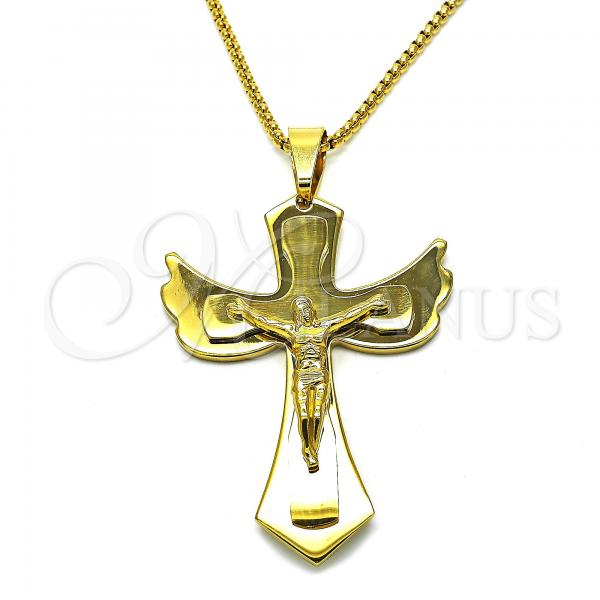 Stainless Steel 04.116.0047.30 Fancy Necklace, Crucifix Design, Polished Finish, Golden Tone