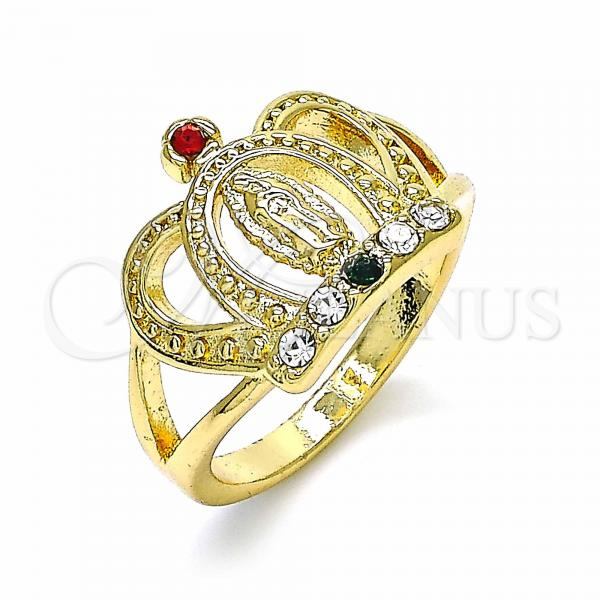 Gold Layered Multi Stone Ring, Guadalupe and Crown Design, with Crystal, Golden Tone
