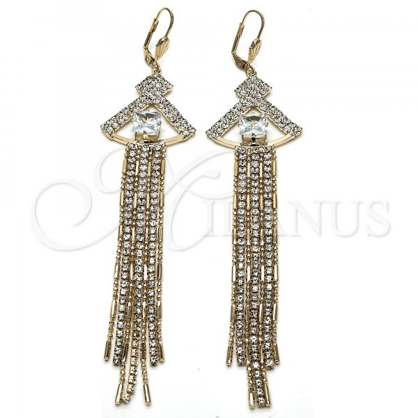 Gold Layered 02.268.0066 Long Earring, with White Cubic Zirconia and White Crystal, Polished Finish, Golden Tone