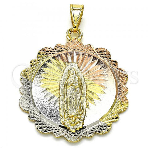 Gold Layered 05.253.0060 Religious Pendant, Guadalupe Design, Diamond Cutting Finish, Tri Tone