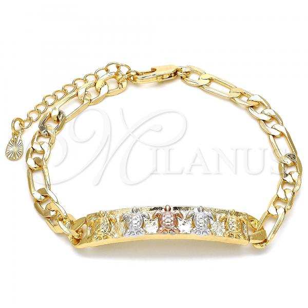 Gold Layered 03.351.0005.07 ID Bracelet, Turtle Design, Polished Finish, Tri Tone