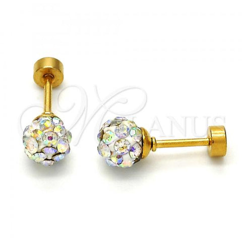 Stainless Steel Stud Earring, Ball Design, with Crystal, Golden Tone
