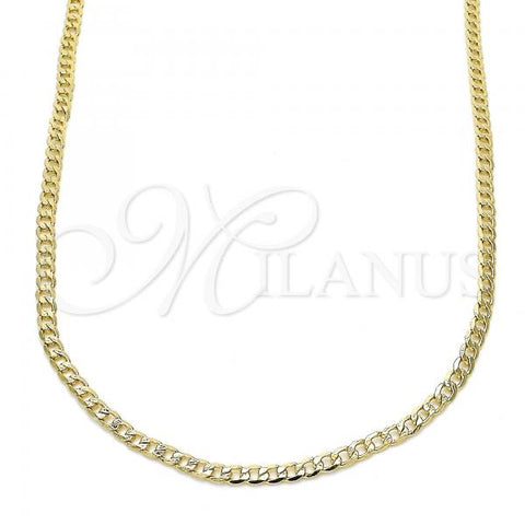 Gold Layered 5.222.008.30 Basic Necklace, Curb Design, Polished Finish, Golden Tone