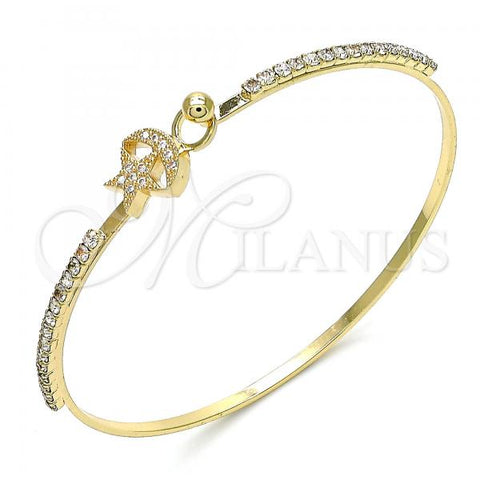 Gold Layered 07.193.0028.04 Individual Bangle, Star and Moon Design, with White Micro Pave and White Crystal, Polished Finish, Golden Tone (02 MM Thickness, Size 4 - 2.25 Diameter)