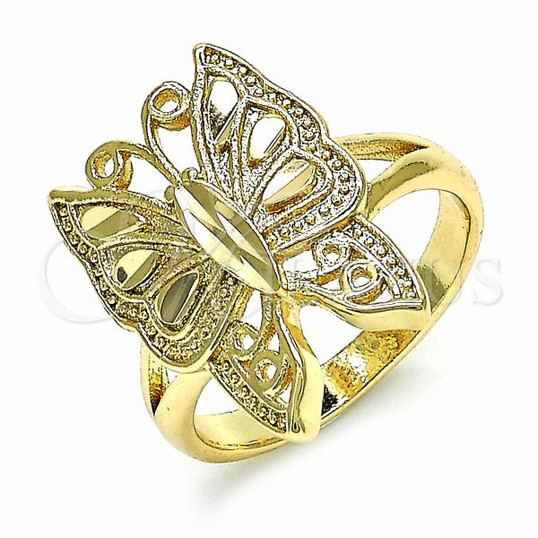 Gold Layered Elegant Ring, Butterfly Design, Golden Tone