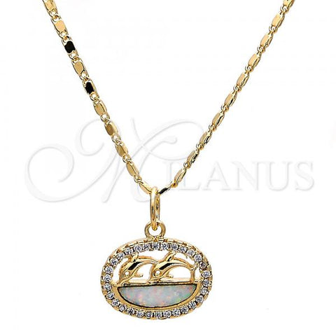 Gold Layered Pendant Necklace, Dolphin Design, with Opal and Micro Pave, Golden Tone