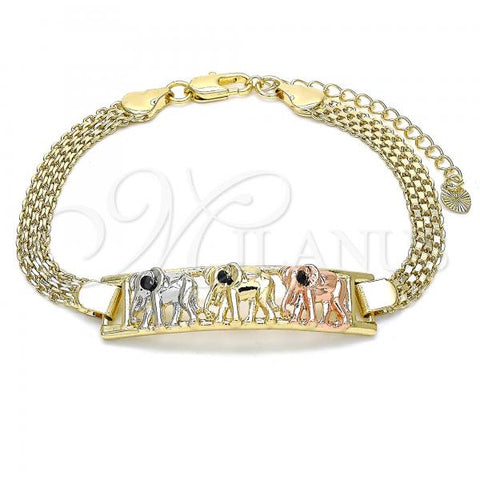 Gold Layered 03.380.0019.08 Fancy Bracelet, Elephant Design, with Black Crystal, Polished Finish, Tri Tone