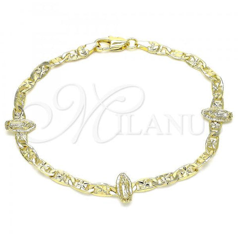 Gold Layered 03.253.0068.08 Fancy Bracelet, Guadalupe Design, Diamond Cutting Finish, Golden Tone