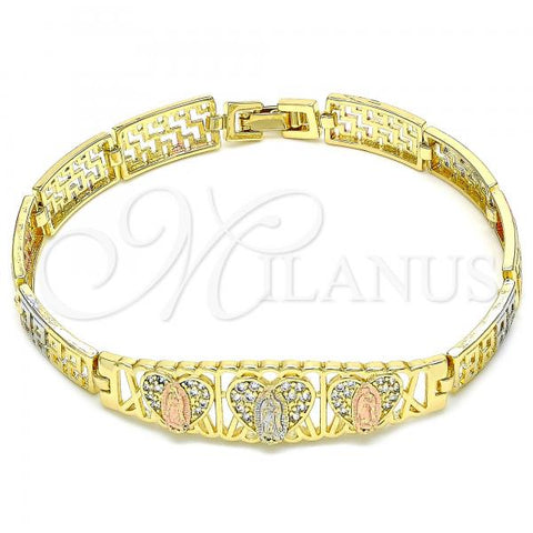 Gold Layered 03.380.0013.08 Fancy Bracelet, Guadalupe and Heart Design, with White Micro Pave, Polished Finish, Tri Tone