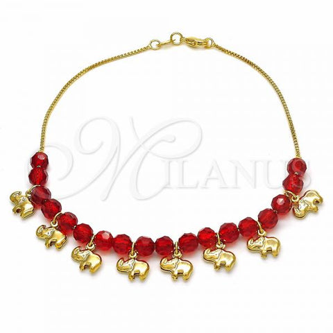 Gold Layered 03.32.0203.10 Charm Anklet , Elephant and Box Design, with Ruby Crystal, Red Polished Finish, Golden Tone