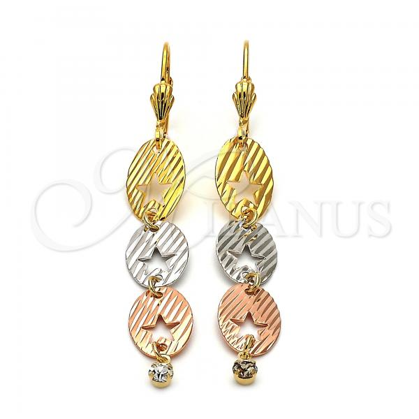 Gold Layered 5.091.001 Long Earring, Star Design, with White Cubic Zirconia, Diamond Cutting Finish, Tri Tone
