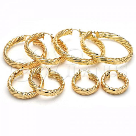 Gold Layered Medium Hoop, Twist Design, Golden Tone