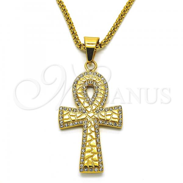 Stainless Steel 04.259.0014.30 Fancy Necklace, Cross Design, with White Crystal, Polished Finish, Golden Tone