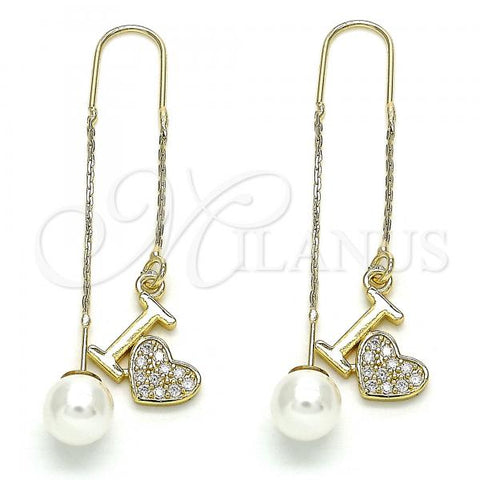 Gold Layered 02.210.0398 Threader Earring, Heart Design, with White Micro Pave, Polished Finish, Golden Tone