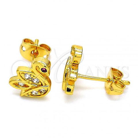 Gold Layered 02.342.0001 Stud Earring, Swan Design, with White and Ruby Cubic Zirconia, Polished Finish, Golden Tone