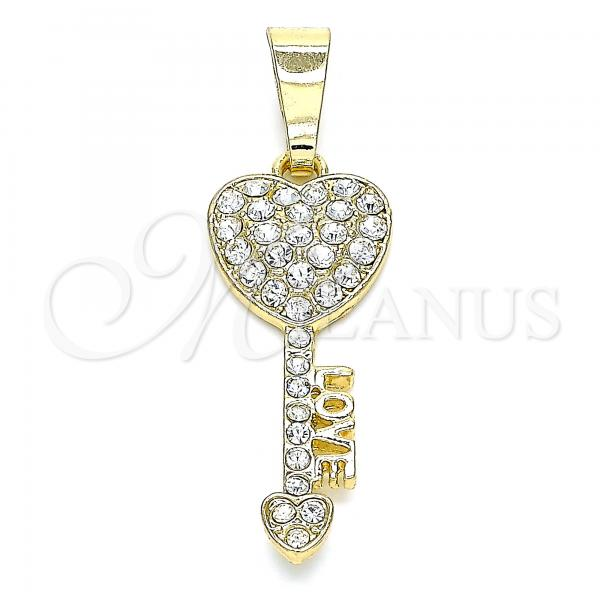 Gold Layered 05.351.0096 Fancy Pendant, key and Love Design, with White Crystal, Polished Finish, Golden Tone