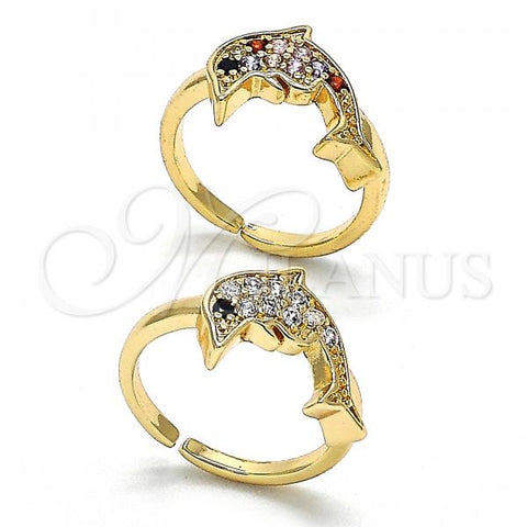 Gold Layered Multi Stone Ring, Dolphin Design, with Cubic Zirconia, Golden Tone
