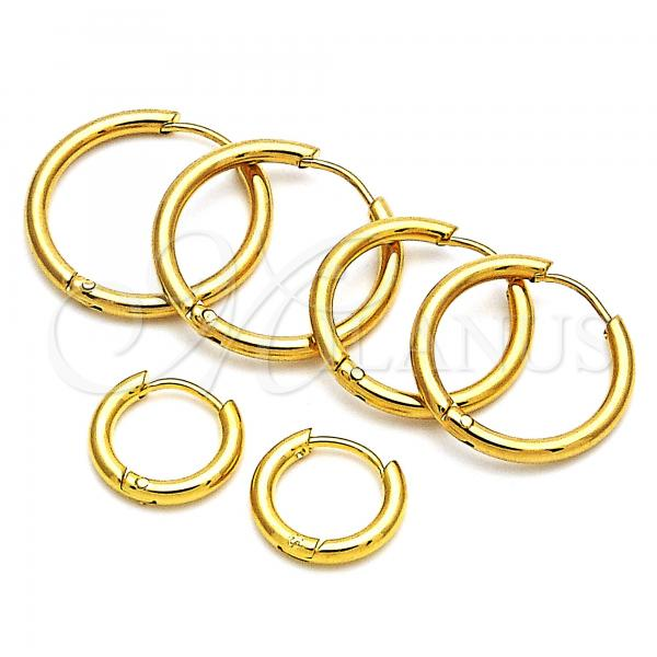 Stainless Steel Huggie Hoop, Golden Tone