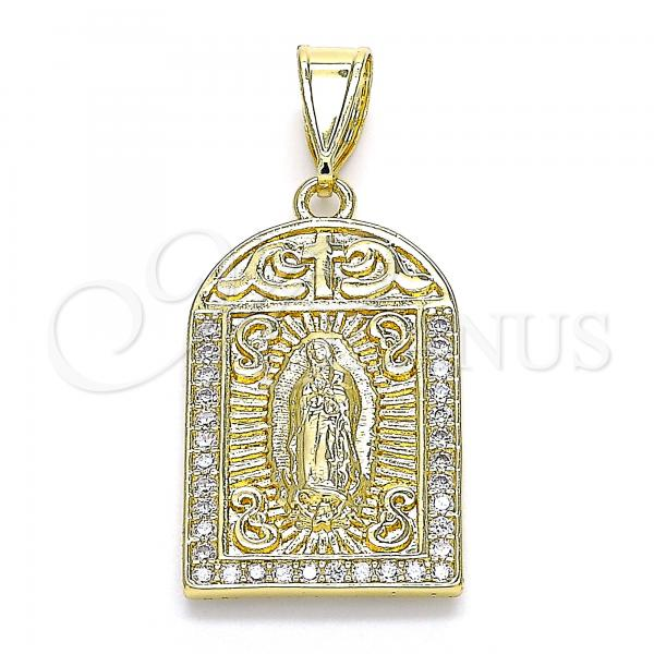 Gold Layered 05.253.0090 Religious Pendant, Guadalupe and Cross Design, with White Micro Pave, Polished Finish, Golden Tone