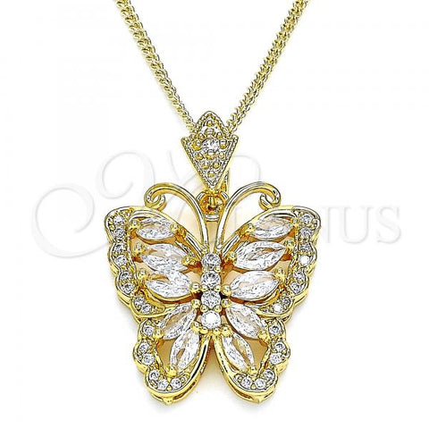 Gold Layered 04.283.0006.1.20 Fancy Necklace, Butterfly Design, with White Cubic Zirconia, Polished Finish, Golden Tone