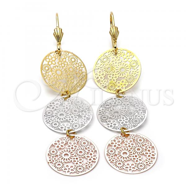 Gold Layered 5.082.013 Long Earring, Flower Design, Diamond Cutting Finish, Tri Tone
