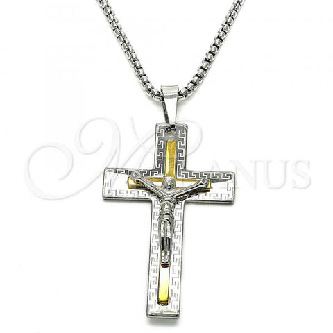 Stainless Steel 04.116.0029.30 Fancy Necklace, Crucifix and Greek Eye Design, Polished Finish, Two Tone