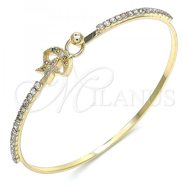 Gold Layered 07.193.0028.1.04 Individual Bangle, Star and Moon Design, with Multicolor Micro Pave and White Crystal, Polished Finish, Golden Tone (02 MM Thickness, Size 4 - 2.25 Diameter)