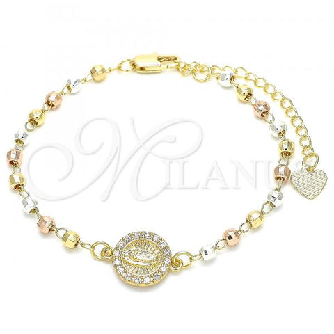 Gold Layered 03.253.0037.07 Bracelet Rosary, Guadalupe Design, with White Cubic Zirconia, Diamond Cutting Finish, Tri Tone