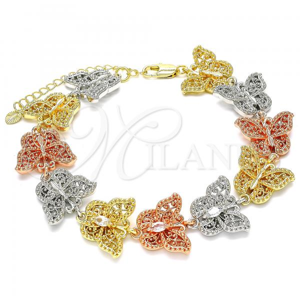 Gold Layered 03.380.0006.08 Fancy Bracelet, Butterfly Design, with White Crystal, Polished Finish, Tri Tone