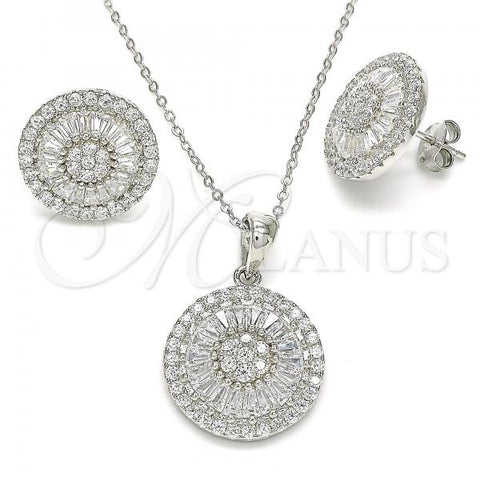 Sterling Silver 10.286.0021 Earring and Pendant Adult Set, with White Cubic Zirconia, Polished Finish, Rhodium Tone