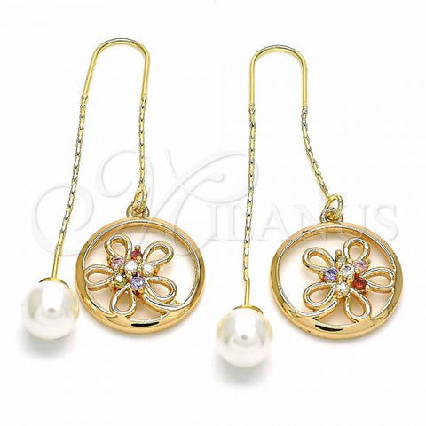 Gold Layered 02.323.0092 Threader Earring, Flower Design, with Multicolor Cubic Zirconia, Polished Finish, Golden Tone