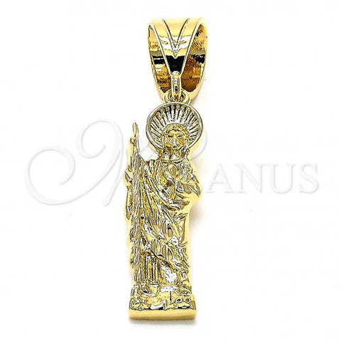 Gold Layered 05.185.0003 Religious Pendant, San Judas Design, Diamond Cutting Finish, Golden Tone