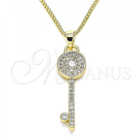 Gold Layered 04.344.0007.20 Pendant Necklace, key Design, with White Micro Pave, Polished Finish, Golden Tone