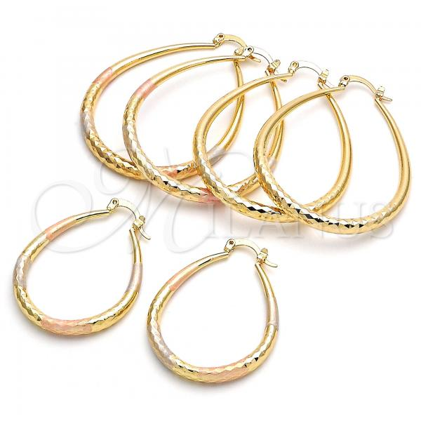Gold Layered Medium Hoop, Teardrop and Hollow Design, Golden Tone