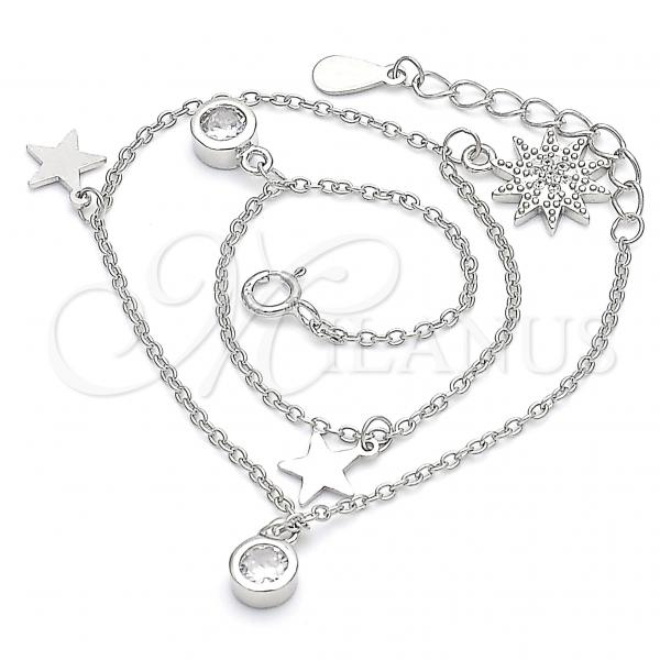 Sterling Silver 03.336.0055.10 Charm Anklet , Star Design, with White Cubic Zirconia, Polished Finish, Rhodium Tone
